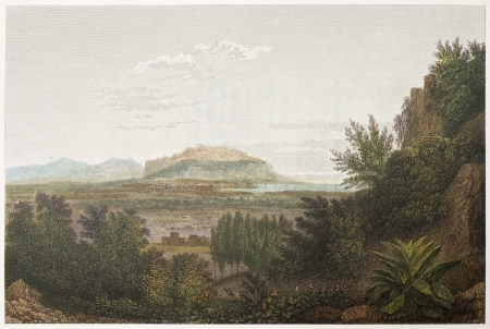 Palermo, old view from Santa Maria di Gesu gardens. Created by De Wint and Meddiman, printed by McQueen, publ. in London, 1821. Ed. on Sicilian Scenery, Rodwell and Martins, London, 1823