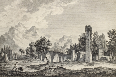 Ponte Ammiraglio (Admiral's bridge) in Palermo surroundings, Italy. By Chatelet and De Longueil, pub. on Voyage Pittoresque de Naples et de Sicilie,  J. C. R. de Saint Non, Im.de Clousier, Paris, 1786 Stock Photo - 15055359