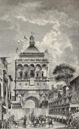 Antique illustration of Porta Nuova, in Palermo, Sicily. By Desprez and Berthault, published on Voyage Pittoresque de Naples et de Sicilie,  J. C. R. de Saint Non, Impr.de Clousier, Paris, 1786