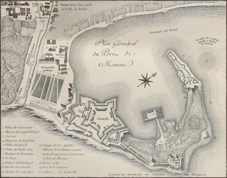 Port of Messina plan, Italy. Created bt Beaublé, published on Voyage Pittoresque de Naples et de Sicilie,  J. C. R. de Saint Non, Impr. de Clousier, Paris, 1786 Stock Photo - 15055331