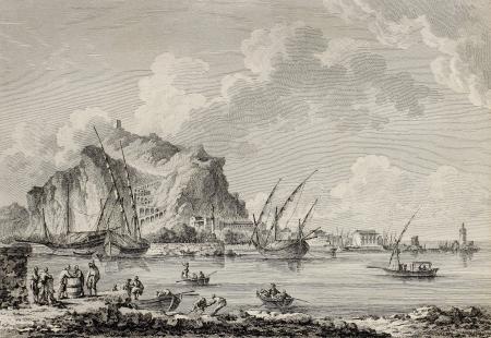 palermo italy: View of the port of Palermo, Italy. By Chatelet and Paris, published on Voyage Pittoresque de Naples et de Sicilie,  J. C. R. de Saint Non, Imprimerie de Clousier, Paris, 1786