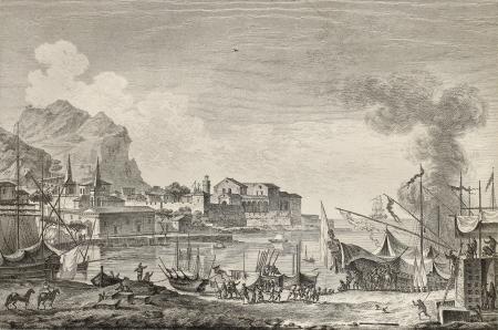 palermo italy: View of port of Palermo, Italy. By Chatelet and Paris, published on Voyage Pittoresque de Naples et de Sicilie,  J. C. R. de Saint Non, Imprimerie de Clousier, Paris, 1786