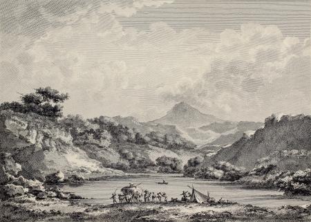 basin mountain: Proserpina lake near Enna, Sicily. Created by Chatelet and Varin, published on Voyage Pittoresque de Naples et de Sicilie, by J. C. R. de Saint Non, Imprimerie de Clousier, Paris, 1786