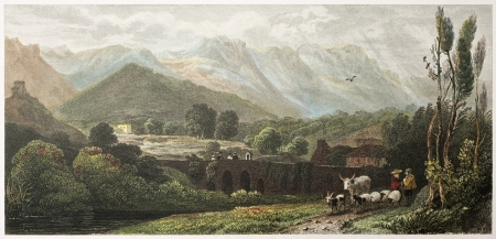 On the road to Falco, near Palermo, Sicily. Created by De Wint and Wallis, printed by McQueen, publ. in London, 1821. Ed. on Sicilian Scenery, Rodwell and Martins, London, 1823