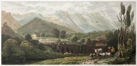 sycylijski: Na drodze do Falco, w pobliżu Palermo, Sycylia. Utworzony przez De Wint oraz Wallis, wydrukowany przez McQueena, wyd. w Londynie, 1821. Ed. na Sycylii, Scenery, Rodwell i Martins, London, 1823