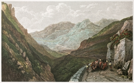 alcamo: On the road to Palermo from Alcamo, old illustration. Created by De Wint and Middiman, printed by McQueen, publ. in London, 1822. Ed. on Sicilian Scenery, Rodwell and Martins, London, 1823.
