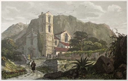 Santa Croce church old view, near Messina, Sicily. Created by De Wint and Cooke, printed by McQueen, publ. in London, 1821. Ed. on Sicilian Scenery, Rodwell and Martins, London, 1823 Stock Photo - 15055303