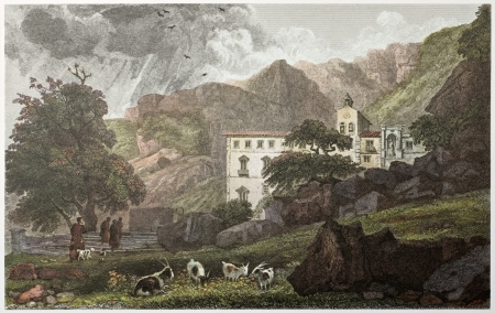 santa rosalia: Sanctuary of Santa Rosalia old view, near palermo, Sicily. Created by De Wint and Hearth, printed by McQueen, publ. in London, 1821. Ed. on Sicilian Scenery, Rodwell and Martins, London, 1823 Editorial