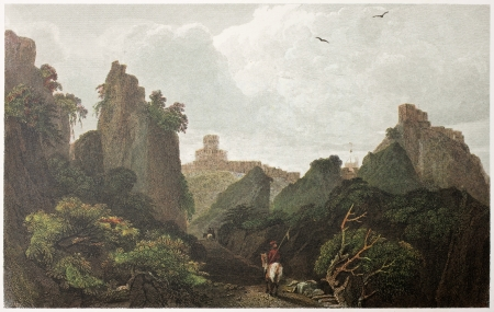 taormina: Pass of Sant Alessio between Taormina and Messina, Sicily. Created by De Wint and Askey, printed by McQueen, publ. in London, 1821. Ed. on Sicilian Scenery, Rodwell and Martins, London, 1823