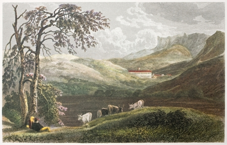 San Martino Convent, near Palermo, Sicily. Created by De Wint and Finden, printed by McQueen, publ. in London, 1821. Ed. on Sicilian Scenery, Rodwell and Martins, London, 1823