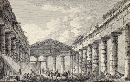 View of Segesta temple interior. By Desprez and Berthault, published on Voyage Pittoresque de Naples et de Sicilie,  J. C. R. de Saint Non, Imprimerie de Clousier, Paris, 1786 Stock Photo - 15055352