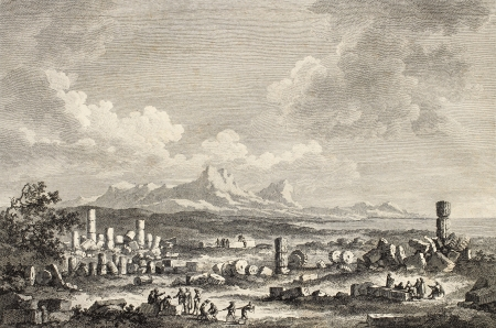 View of Selinunte temple ruins, Sicily. By Chatelet and Guttemberg, published on Voyage Pittoresque de Naples et de Sicilie, by J. C. R. de Saint Non, Imprerie de Clousier, Paris, 1786 Stock Photo - 15055355