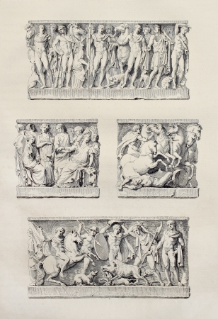 old fashioned sepia: Sepulchral stones in Agrigento cathedral, Sicily. Created by Renard and Aubin, published on Voyage Pittoresque de Naples et de Sicilie, by J. C. R. de Saint Non, Impr. de Clousier, Paris, 1786