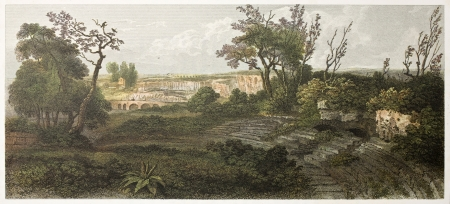 ed: Syracuse amphitheatre old view, Sicily. Created by De Wint and Hearth, printed by McQueen, publ. in London, 1821. Ed. on Sicilian Scenery, Rodwell and Martins, London, 1823  Editorial