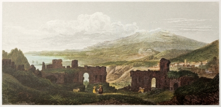 taormina: Taormina Greek theatre old view, Sicily. Created by De Wint and Wallis, printed by McQueen, publ. in London, 1821. Ed. on Sicilian Scenery, Rodwell and Martins, London, 1823