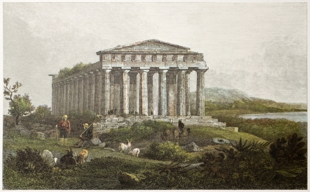 Temple of Concord old view, Agrigento, Sicily. Created by De Wint and Allen, printed by McQueen, publ. in London, 1821. Ed. on Sicilian Scenery, Rodwell and Martins, London, 1823 Editöryel