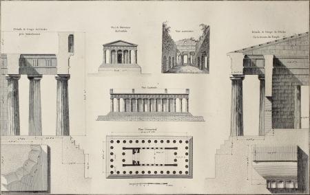 greek temple: Geometric plan of Temple of Concordia, Agrigento, Sicily. By Renard and Berthault, published on Voyage Pittoresque de Naples et de Sicilie, by J. C. R. de Saint Non, Impr. de Clousier, Paris, 1786