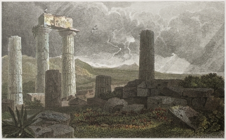 valley of the temples: Temple of Juno columns old illustration. Created by De Wint and Byrne, printed by McQueen, publ. in London, 1821. Ed. on Sicilian Scenery, Rodwell and Martins, London, 1823