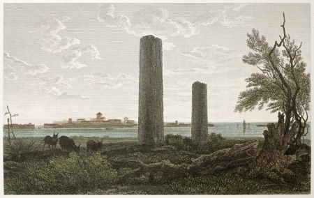 ed: Temple of Jupiter ruins, Syracuse, Sicily. Created by De Wint and Wallis, printed by McQueen, publ. in London, 1821. Ed. on Sicilian Scenery, Rodwell and Martins, London, 1823