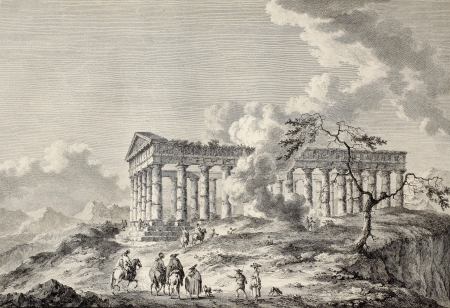 calatafimi: View of the temple of Segesta, western Sicily. By Chatelet and Masquelier, published on Voyage Pittoresque de Naples et de Sicilie,  J. C. R. de Saint Non, Imprimerie de Clousier, Paris, 1786