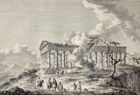 calatafimi: View of the temple of Segesta, western Sicily. By Chatelet and Masquelier, published on Voyage Pittoresque de Naples et de Sicilie,  J. C. R. de Saint Non, Imprimerie de Clousier, Paris, 1786