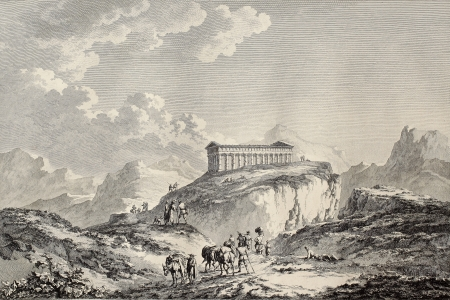 View of the temple of Segesta and surroundings, western Sicily. By Coyni and De Ghendt, published on Voyage Pittoresque de Naples et de Sicilie,  J. C. R. de Saint Non, Impr.de Clousier, Paris, 1786 Stock Photo - 15055358