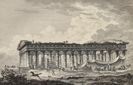 calatafimi: Lateral view of the temple of Segesta, Sicily. By Desprez, Berteaux and De Ghendt, published on Voyage Pittoresque de Naples et de Sicilie,  J. C. R. de Saint Non, Imprimerie de Clousier, Paris, 1786