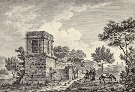 sepulchre: Therons Tomb in the Valley of the Temples, Sicily. By Desprez, Coury and De Ghendt, publ. on Voyage Pittoresque de Naples et de Sicilie,  J. C. R. de Saint Non, Impr. de Clousier, Paris, 1786