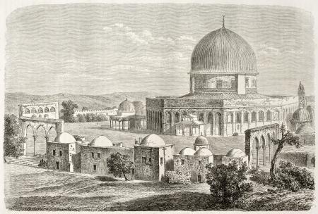 al aqsa: Old view of Al-Aqsa Mosquee, Jerusalem. Created by Lancelot after photo of unknown author, published on Le Tour du Monde, Paris, 1860  Editorial