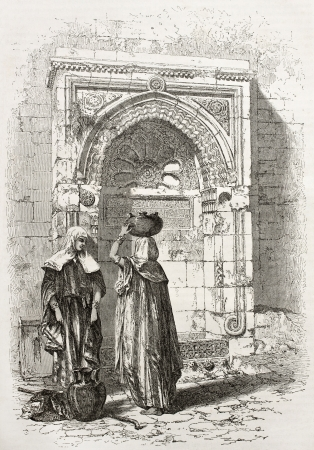 ancient israel: Old illustration of an Arab fountain in Jerusalem. Created by Therond after photo of unknown author, published on Le Tour du Monde, Paris, 1860