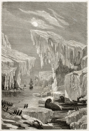john: Old illustration of Sir John Franklin North Arctic exploration. Created by Grandsire and Laly, published on Le Tour du Monde, Paris, 1860 Editorial