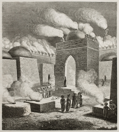 azerbaijan: Old illustration of  Ateshgah of Baku, or Fire Temple. Created by Moynet, published on Le Tour du Monde, Paris, 1860 Editorial