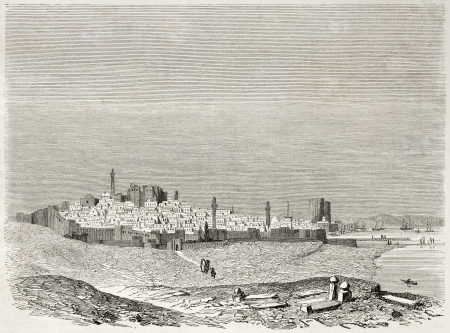 published: Baku old view. Created by Moynet, published on Le Tour du Monde, Paris, 1860