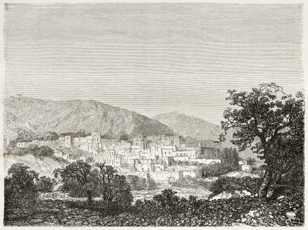 palestine: Old view of Bethlehem, Palestine. Created by Navlet after sketch of Gerardy Saintine, published on Le Tour du Monde, Paris, 1860
