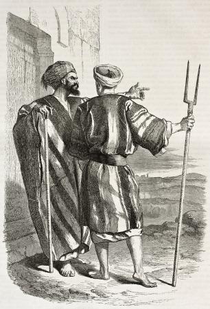 Old illustration of two Bethlehem dwellers. Created by Bida, published on Le Tour du Monde, Paris, 1860 Editorial