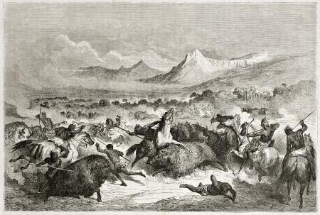indios americanos: Antigua ilustración de nativos americanos caza del búfalo. Creado por Dore después de Caitlin, publicado en Le Tour du Monde, París, 1860