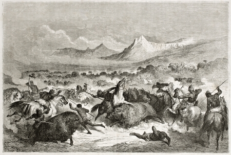 bedlam: Old illustration of native Americans hunting buffalo. Created by Dore after Caitlin, published on Le Tour du Monde, Paris, 1860  Editorial