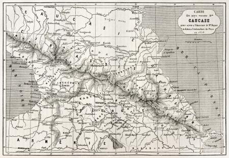 caucasian ancestry: Old Caucasus map. Created by Villemin, Erhard and Bonaparte, published on Le Tour du Monde, Paris, 1860