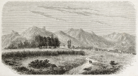 Old view of Cetinje (Tsettine). Created by Lejean, published on Le Tour du Monde, Paris, 1960 Stock Photo - 15055409
