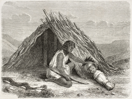 swaddling clothes: Old illustration of native American Chimehwhuebes hut. Created by Duveaux and Pierdon, published on Le Tour du Monde, Paris, 1860