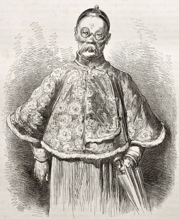Old portrait of a Chinese merchant. Created by Dore after Trevise, published on Le Tour du Monde, Paris, 1860