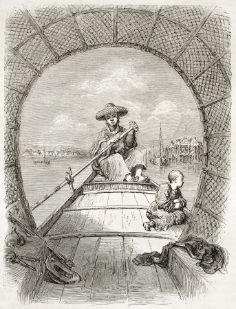 coolie hat: Chinese oarsman on his boat, old illustration. Created by Dore after Trevise, published on Le Tour du Monde, Paris, 1860