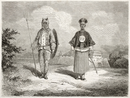 asian ancestry: Old illustration of Chinese soldiers: war tiger and a brave. Created by Dore after Trevise, published on Le Tour du Monde, Paris, 1860