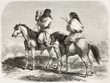 indios americanos: Antigua ilustración de caballo Comanche indios. Creado por Duveaux después del informe realizado bajo la dirección de la secretaria de EE.UU. de la guerra. Publicado en Le Tour du Monde, París, 1860 Editorial