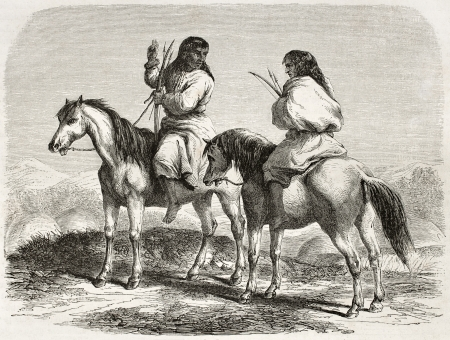 Old illustration of Comanche indians horseback. Created by Duveaux after report made under the direction of the U.S. secretary of the war. Published on Le Tour du Monde, Paris, 1860
