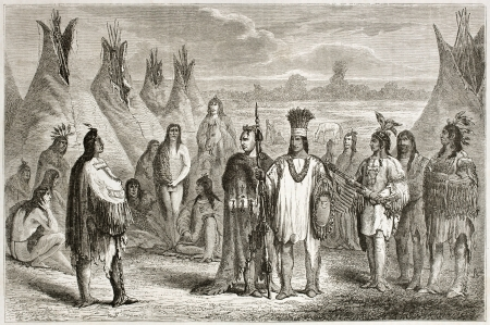cree: Old illustration of Cree indians. Created by Pelcoq after Kane, published on Le Tour du Monde, Paris, 1860