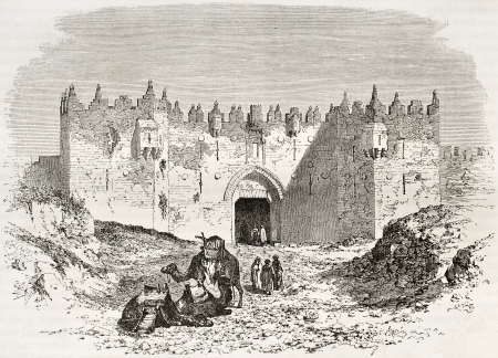 Old engraved illustration of Damascus gate, Jerusalem. Created by Therond and Maurand after photo of unknown author, published on Le Tour du Monde, Paris, 1860 Stock Photo - 15055499