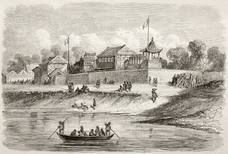 ambassadors: Old view of French and English ambassadors residence in Tianjin, China. Created by Dore after Trevise, published on Le Tour du Monde, Paris, 1860