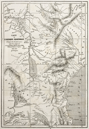 nile source: Old map of equatorial Africa. Egraved by Erhard and Bonaparte, published on Le Tour du Monde, Paris, 1860