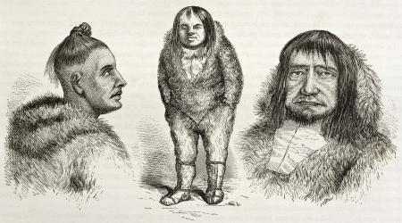 Old illustration of Eskimo types. Created by Valentine after Kane, published on Le Tour du Monde, Paris, 1860